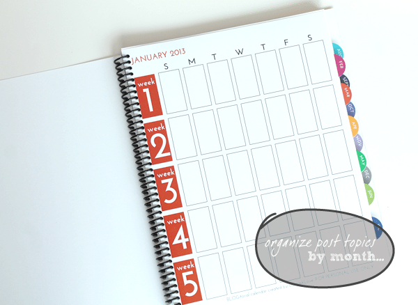 Blog Editorial Calendar Pages Monthly