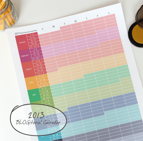 Printable Blog Editorial Yearly Calendar