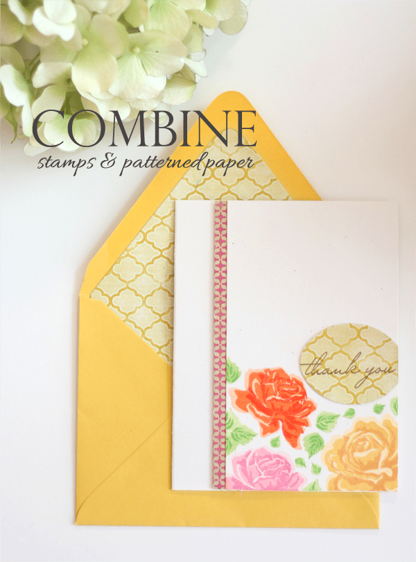 Combining Patterned Paper & Stamping | Damask Love Bloc