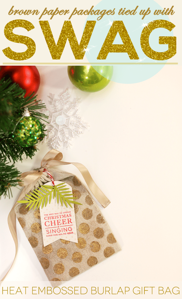 Heat Embossed Burlap Gift Bag
