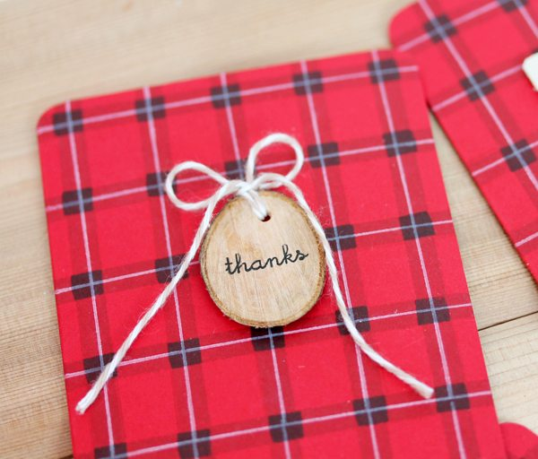 Buffalo Plaid Card with Wood Tag