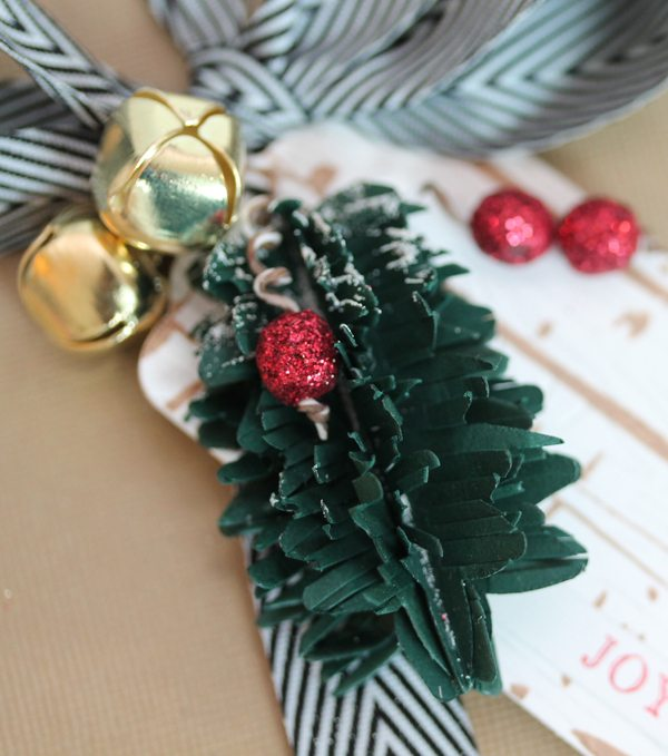 Paper Pine Sprig Gift Close