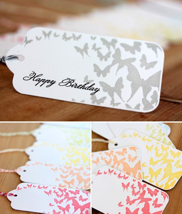 Butterfly Rainbow Letterpress Tags Storyboard | Damask Love