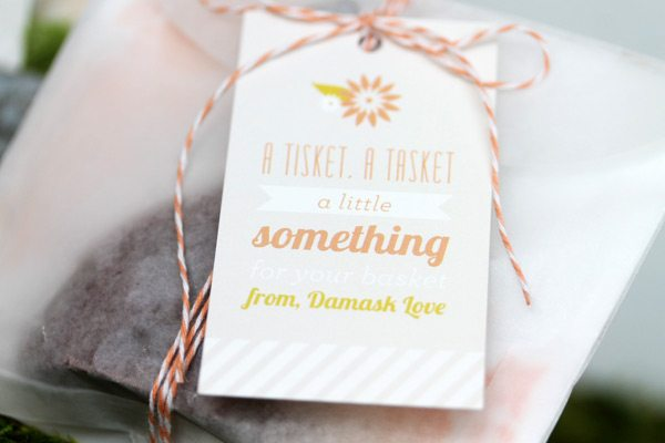 DIY Birch Bark Basket: Treat Filler Tags Close | Damask Love Blog