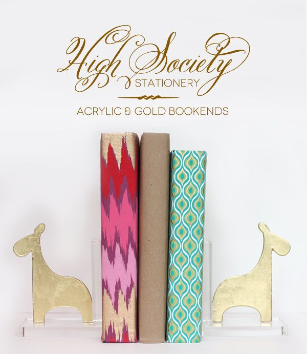 High Society Stationery: DIY Gold Giraffe Bookends | Damask Love Blog