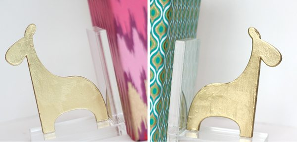 DIY Acrylic & Gold Bookends | Damask Love Blog