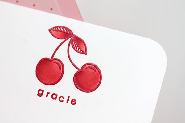 Embossed Cherry Note Cards Close Up