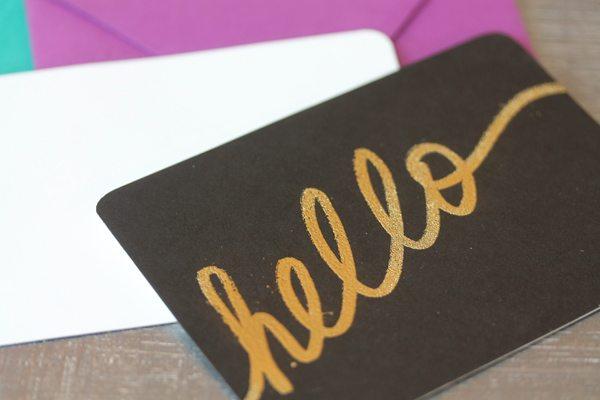 DIY Gold Embossed Handwritten Notecards | Damask Love Blog