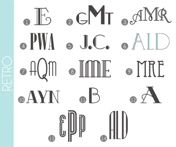 Monograms Made Easy: Retro Fonts | Damask Love Blog