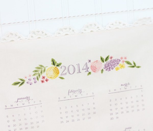 Handstamped Handkerchief Calendar |  Damask Love