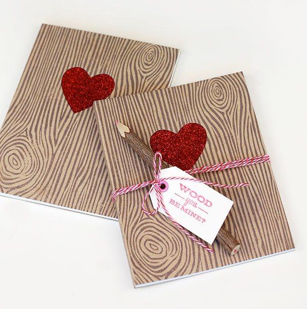 Woodgrain Valentine Notebooks |  Damask Love Blog