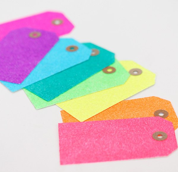 Easy DIY Neon Glitter Tags | Damask Love
