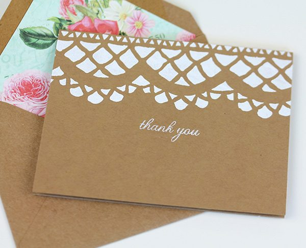 Stenciled Lace Stationery | Damask Love
