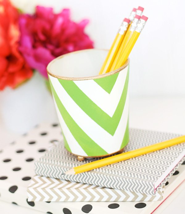 Handpainted Pencil Cup | Damask Love
