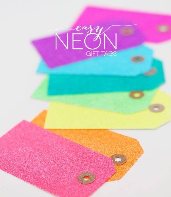 Easy DIY Neon Glitter Tags | Damask Love