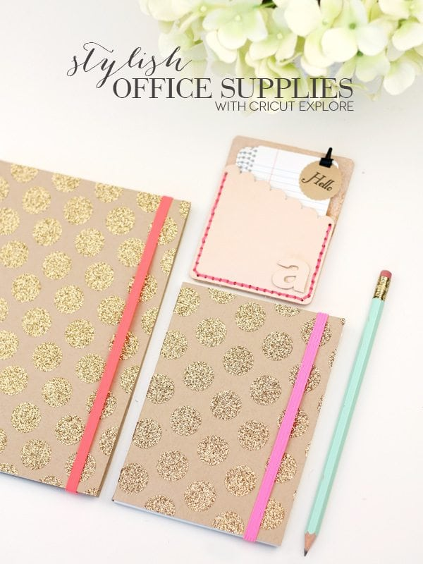 DIY Stylish Gold & Leather Office Supplies with Cricut Explore | Damask Love