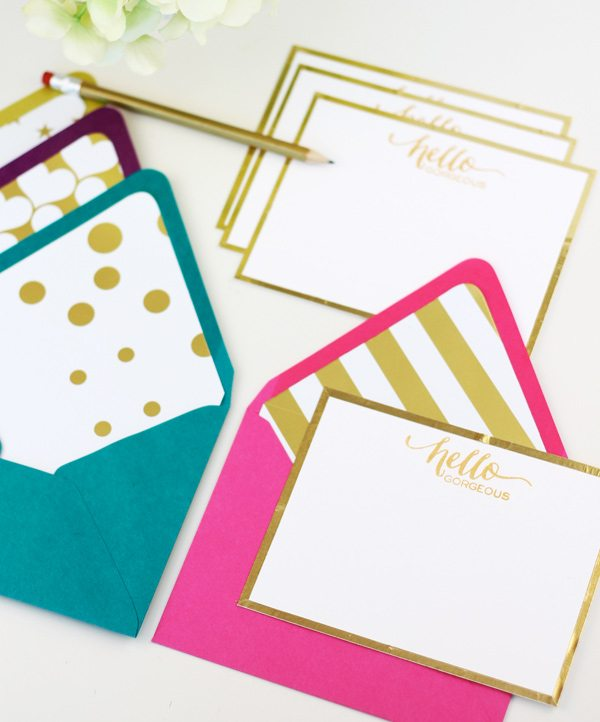 Foil Edge Flat Notecards | Damask Love