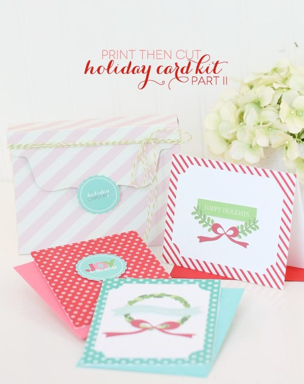 A Merry & Bright Card Kit with Cricut Explore Print Then Cut | Damask Love