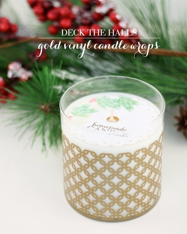 Gold Vinyl Candle Wrap with Cricut Explore | Damask Love
