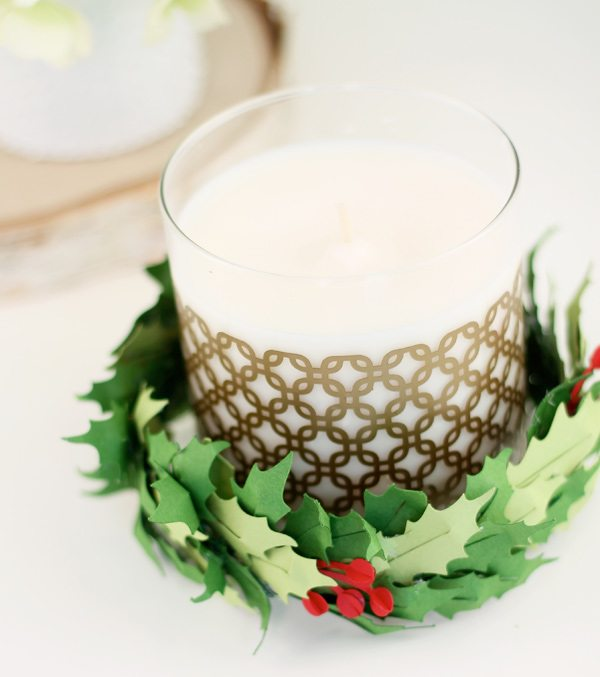 Paper Holly Candle Ring