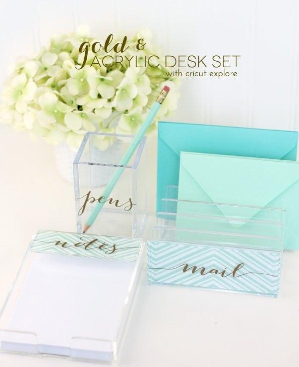 DIY Gold & Acrylic Desk Set
