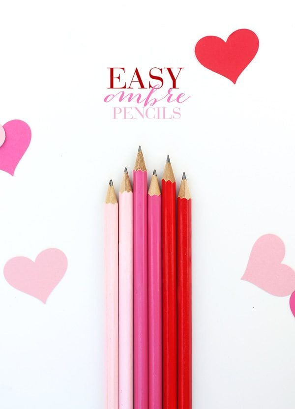 Easy Ombre Valentine Pencils | damask love