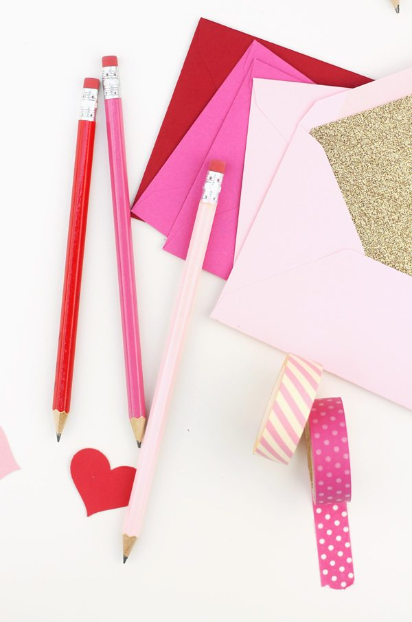 easy ombre valentine pencils damask love