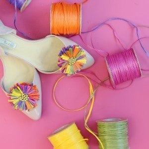 DIY Raffia Shoe Clips | damask love
