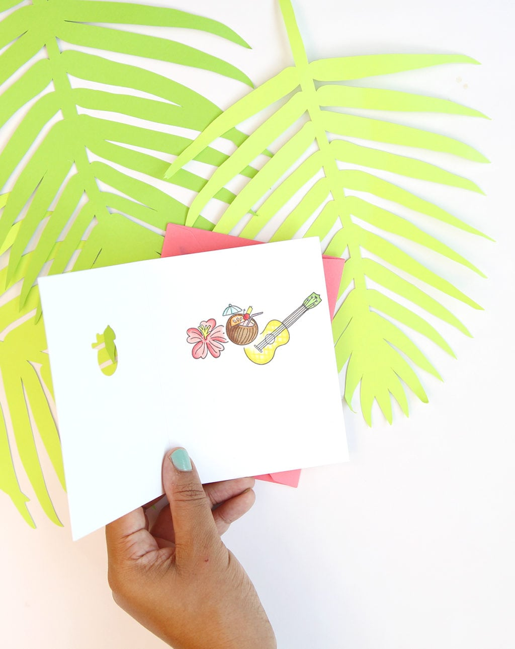 Die Cut Inside-out Tropical Cards | damask love