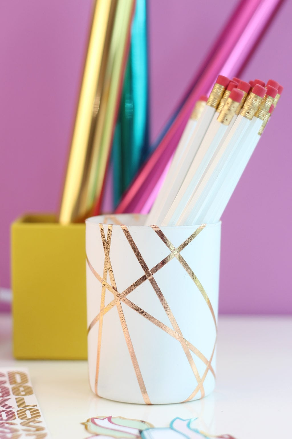 DIY gold foiled pencil cup | damask love