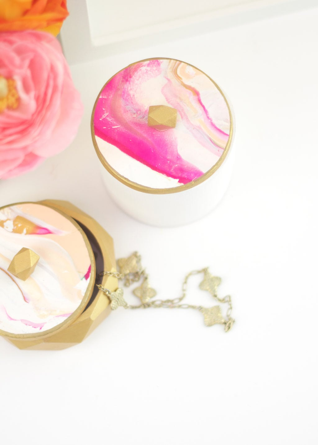 DIY Marbled Clay and Wooden Bracelet Jewelry Boxes | damask love