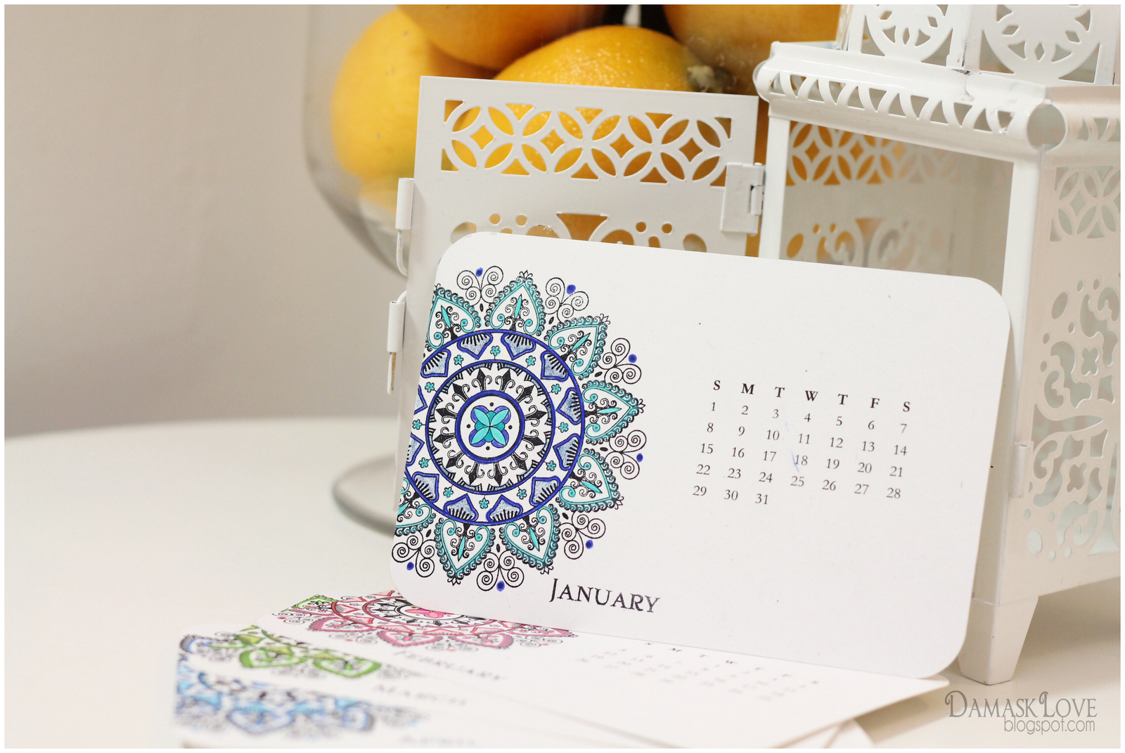 Creative Table Calendar Ideas : Mehndi medallion desk calendar and wall downloads