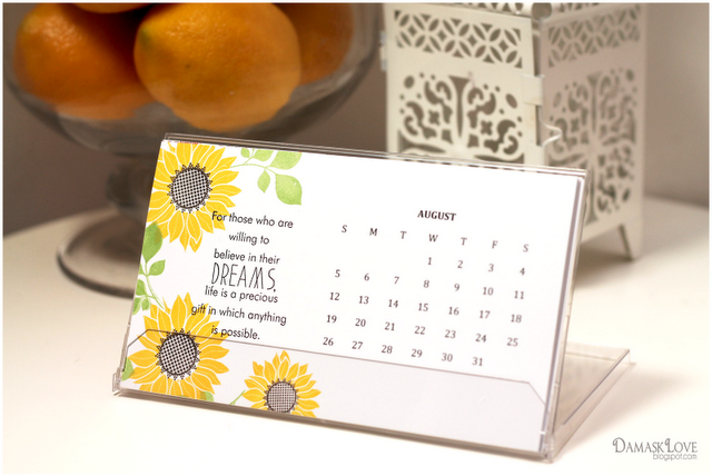 Handmade Table Calendar Designs : Custom calendar recap damask love