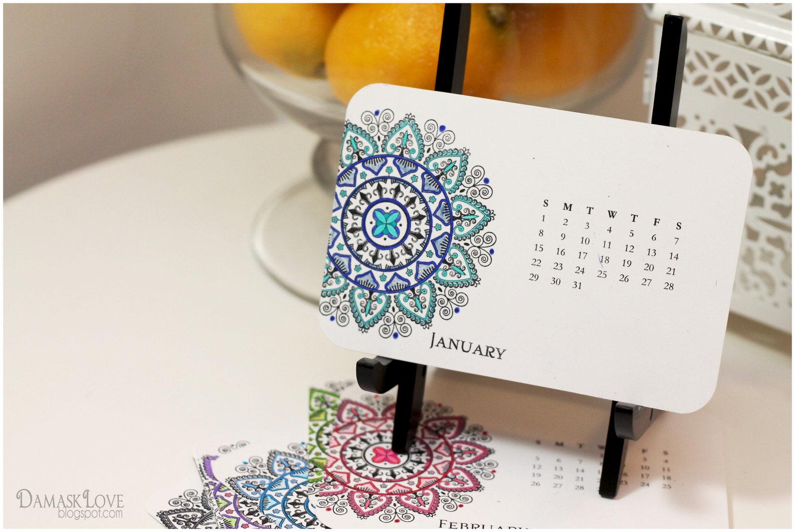 Creative Desk Calendar Ideas : Mehndi medallion desk calendar and wall downloads